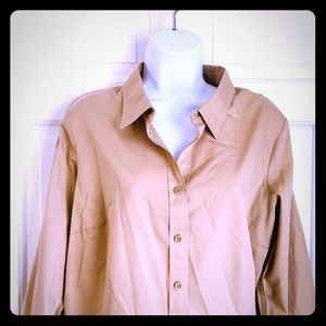 Coldwater Creek No Iron tan button up blouse